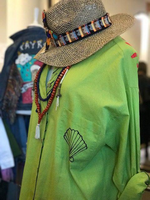 Look Project - Flip Flop Fıstık Yeşili Boyama Gömlek