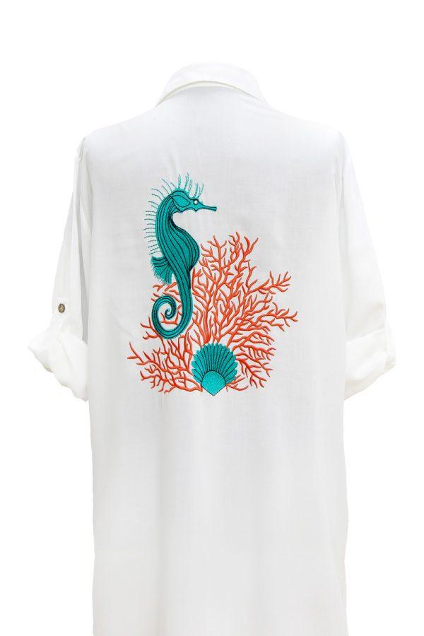 Look Project - Ocean Beyaz Gömlek Elbise
