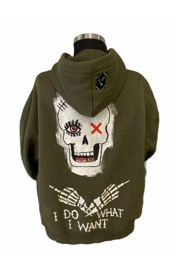 Lookproject - Skull - El Boyaması Hoodie