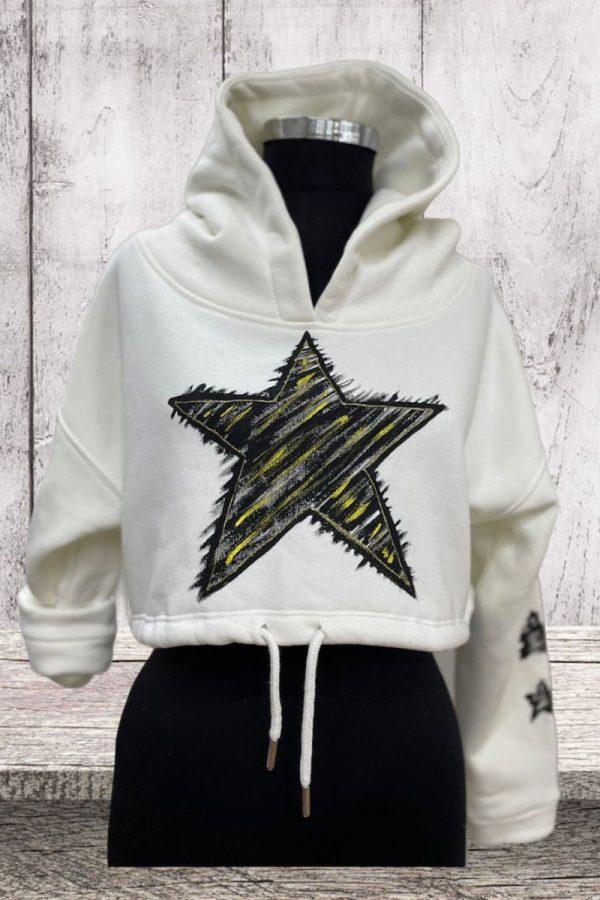 Lookproject - Star Crop Top - El Boyaması Hoodie