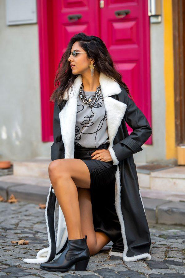 Lookproject - Studio Crinkle Palto Mat Siyah