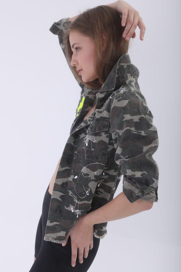 Look Project - Inspire Kamuflaj Denim Ceket