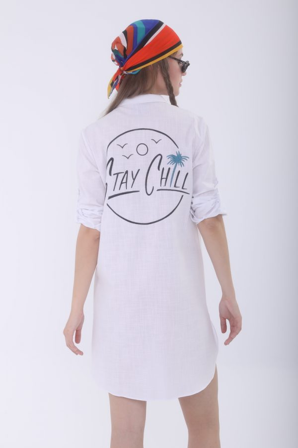 Look Project - Stay Chill Beyaz Gömlek Elbise