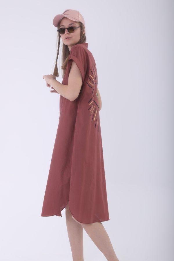 Look Project - Summer Look Ginger Kısa Kollu Gömlek Elbise