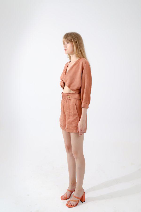 Look Project - Şortlu Crop Takım Apricot