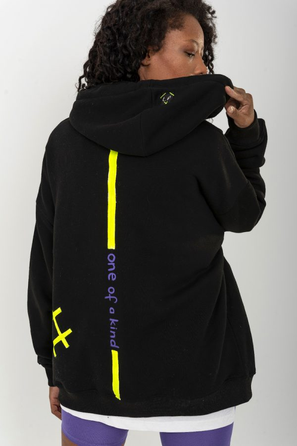 Look Project - Barcode - Hand Painted Hoodie